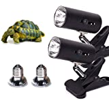 2-Pack 25W UVA UVB Lamp Lights with Bulbs | Heat and Light for Reptiles and Amphibian Tanks, Terrariums and Cages | Adjustabl