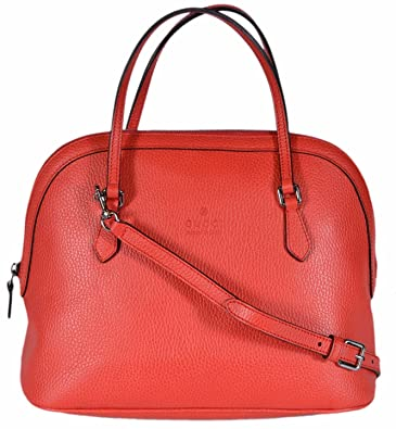 b5568f8839e7 Gucci Women s Medium Textured Leather Convertible Dome Handbag (Sporting Red  6511)