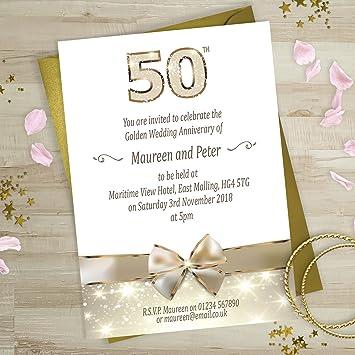 Goldene Hochzeit Einladungen Gold Schleife Design