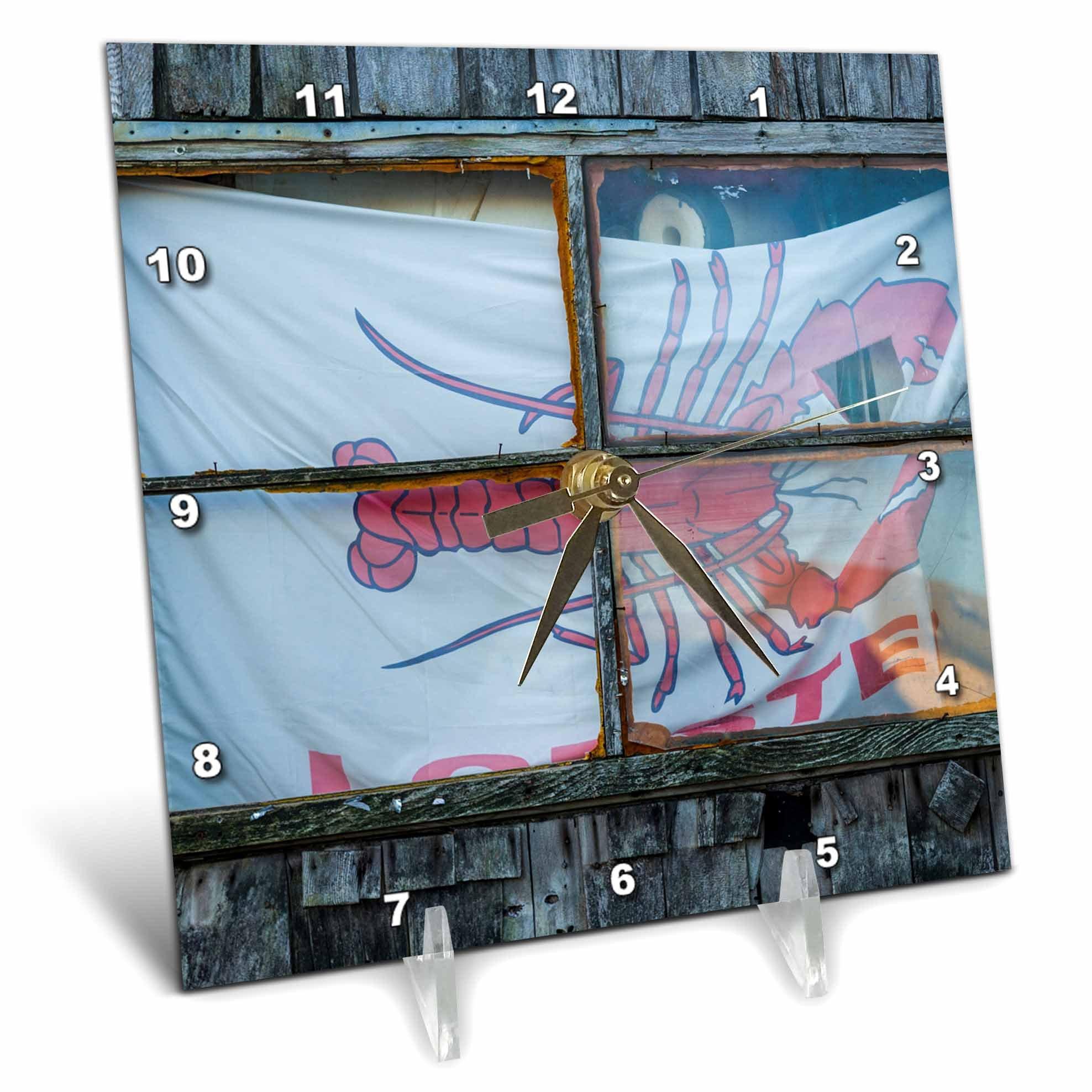 3dRose Danita Delimont - Architecture - USA, Massachusetts, Cape Ann, Rockport, lobster shack window - 6x6 Desk Clock (dc_259462_1)