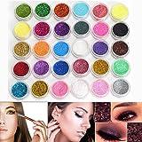Neverland Lot de 30 couleurs Mélangées Maquillage Professionnel Glitter Eyeshadow Mineral Yeux Eyeshadow Pigments Poudre