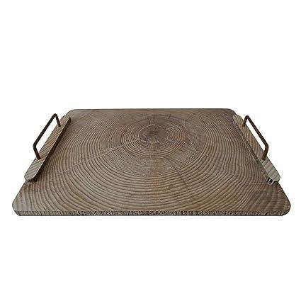 Rectángulo de bandeja de madera con mango de metal Bandeja de madera para vajilla