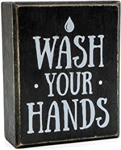 Wash Your Hands Sign by Sukha Home - Wooden Box Farmhouse Bathroom Decor, Funny Bathroom Signs, Wall Decor Art & Shelf Decorations for Kitchen and Bathroom