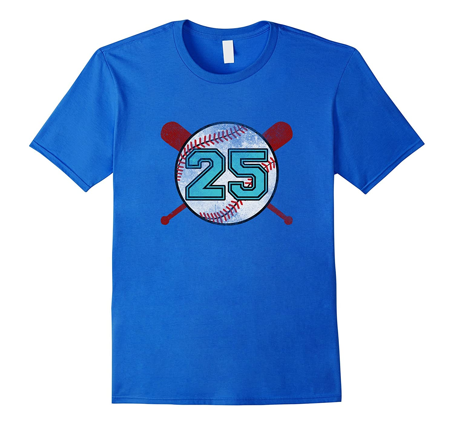 Distressed Baseball Jersey Number T-Shirt #25 Twenty-five-TH