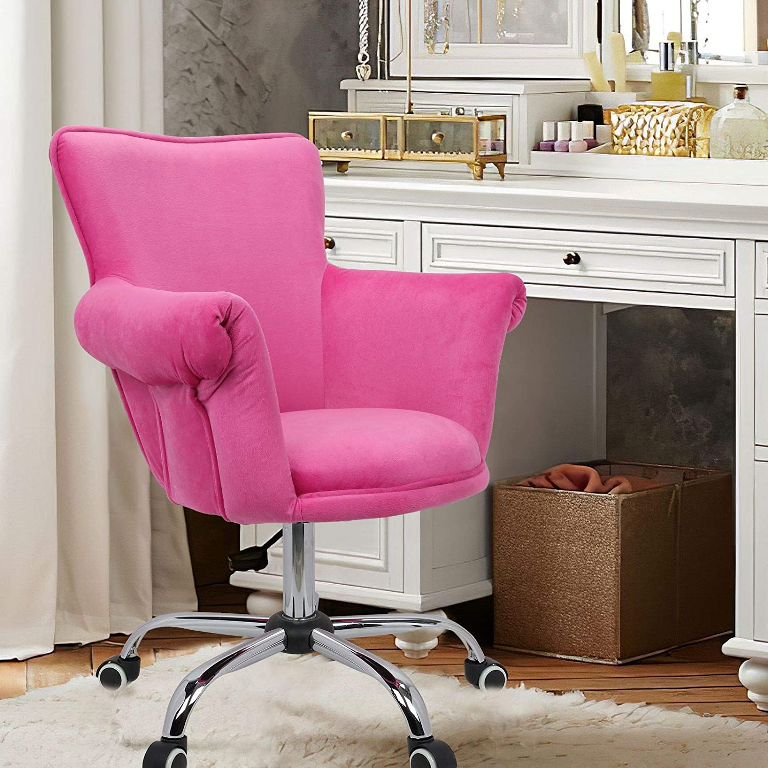 Magshion Deluxe Office Desk Chair Bar Stool Beauty Nail Salon Spa Vanity Seat (Pink)
