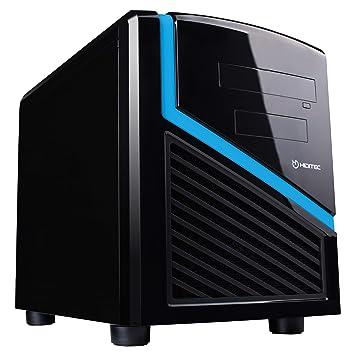 Caja de pc negra y azul DARK KUBE Formato Micro ATX | Estructura Acero | Mini Torre de PC oficina | Diseño Reducido y Elegante | Carcasa de acero SECC ...