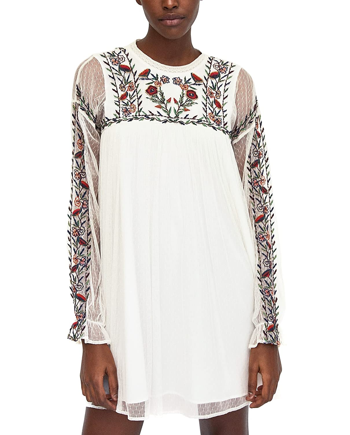 3a416659 Zara Women Plumetis Embroidered Dress 7521/316 (Large): Amazon.ca: Clothing  & Accessories
