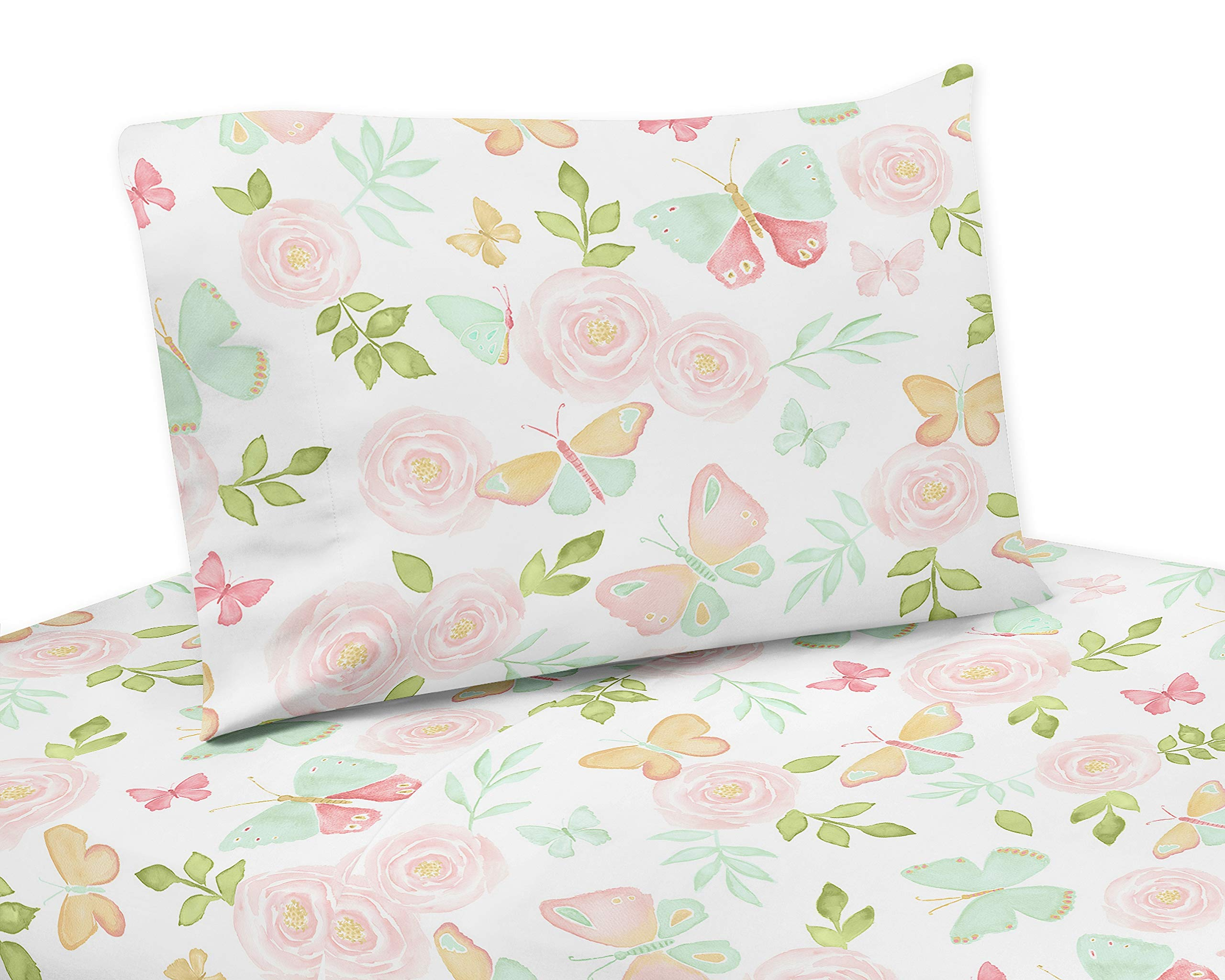 Sweet Jojo Designs Blush Pink, Mint and White Watercolor Rose Queen Sheet Butterfly Floral Collection - 4 Piece Set, Green, Gold