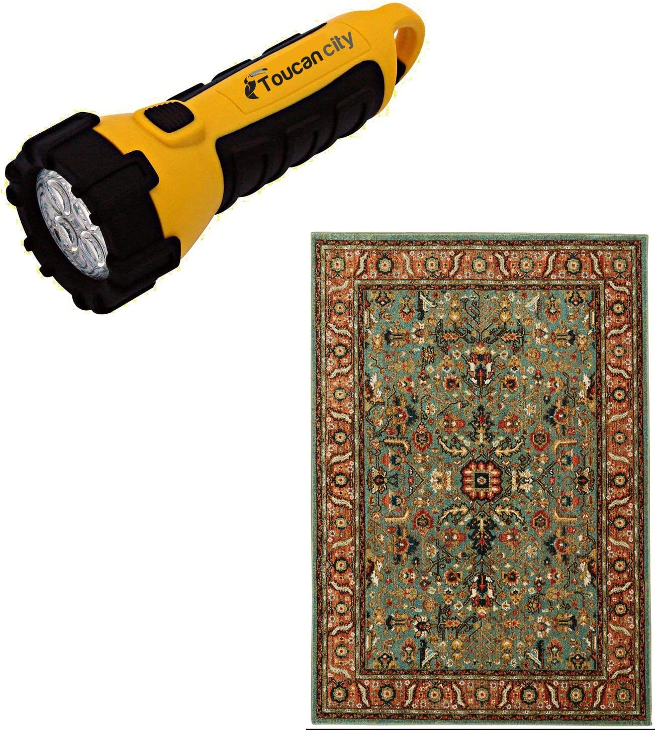 Toucan City LED Flashlight and Home Decorators Collection Mariah Aquamarine 5 ft. x 7 ft. Floral Area Rug 635602