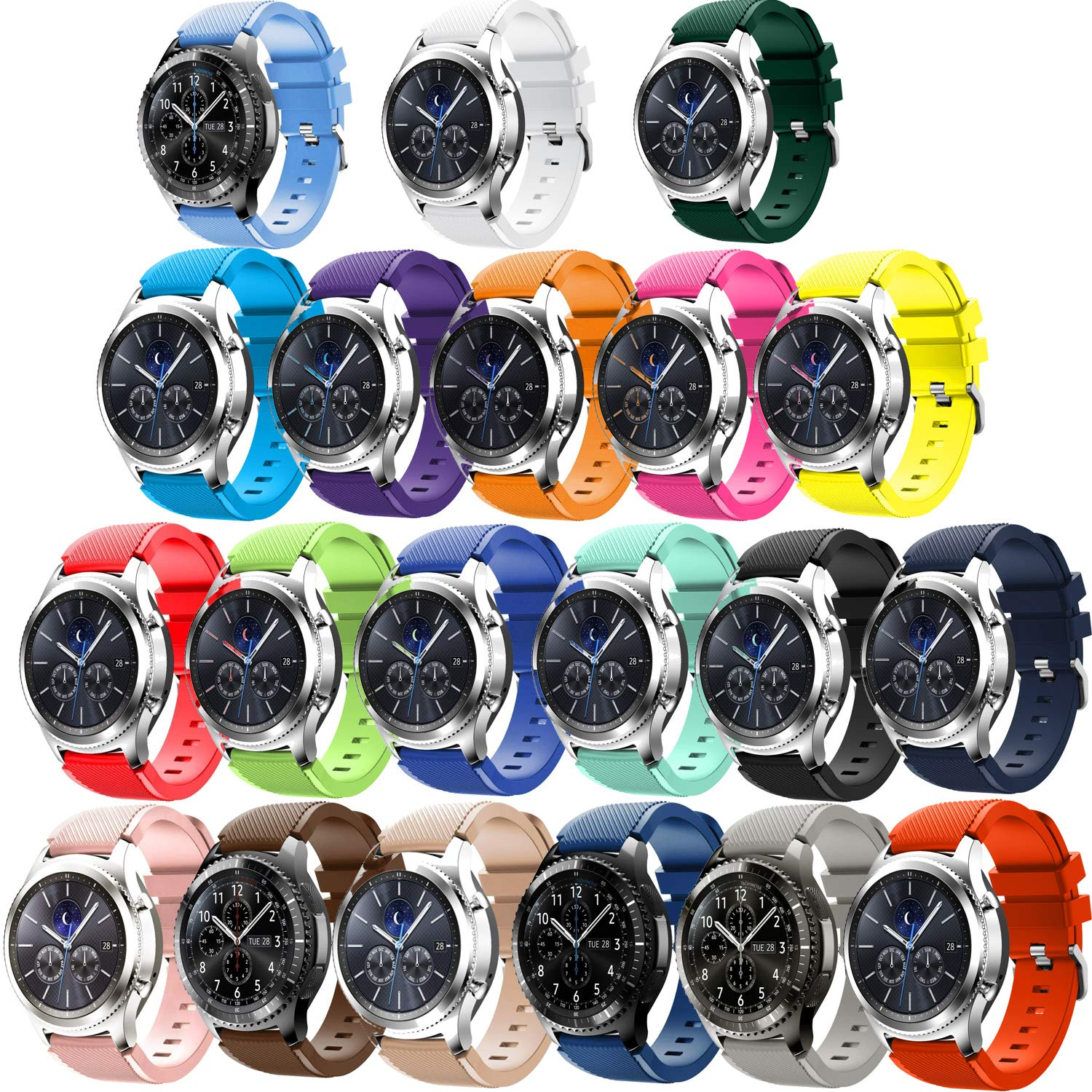 Tabcover for Gear S3 Frontier Correa,20 Colors 22mm Soft Silicone ...