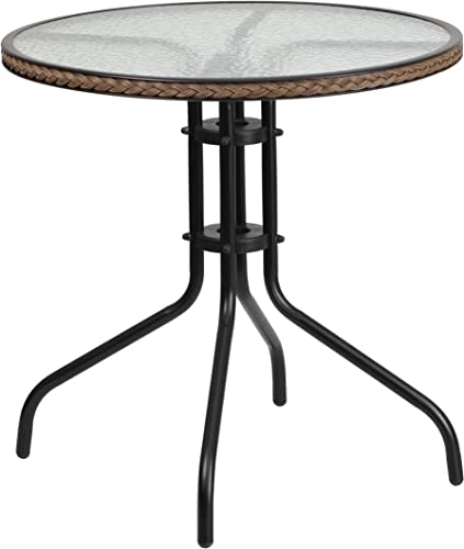 Flash Furniture 28 Round Tempered Glass Metal Table with Dark Brown Rattan Edging, TLH-087-DK-BN-GG