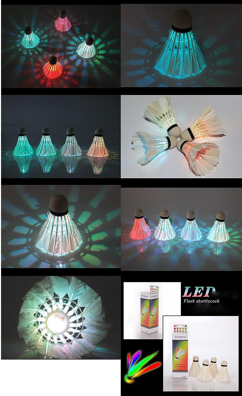 LED badminton confezione da 12 Venlen Tree Shuttlecock Dark Night Glow Birdies Lighting for indoor outdoor sport attivit/à