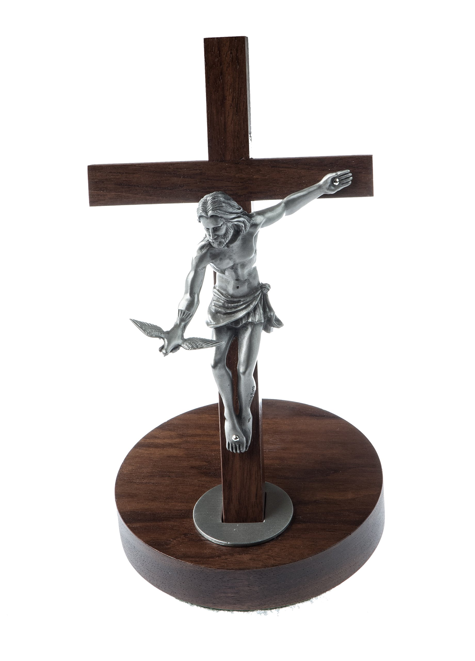 Inspire Nation Gift of the Spirit Walnut Wood Standing Wall Cross Crucifix with Removable Base for Hanging 8 inches