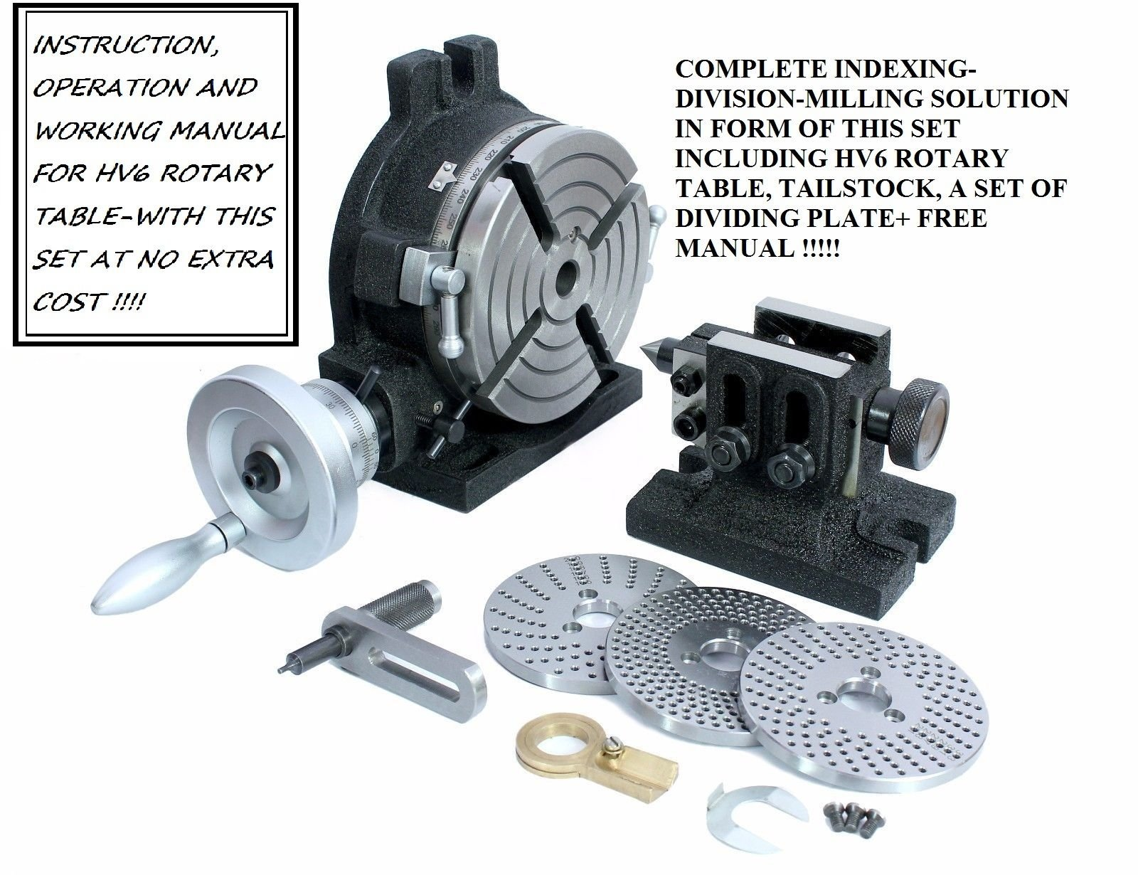 HV6 Rotary Table, Steel Dividing Plates Set & Tailstock with Free Manual-Milling Indexing Kit