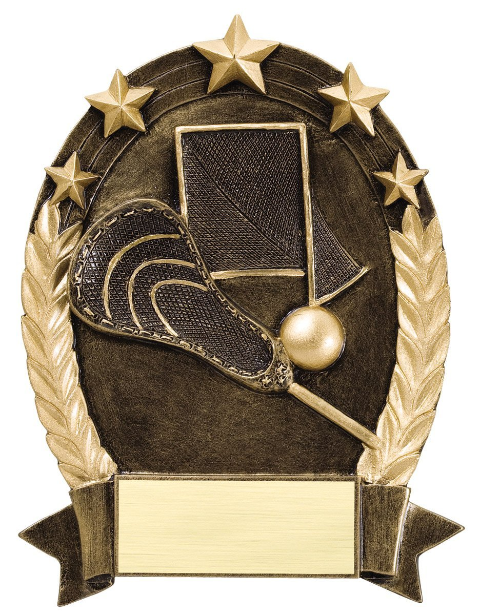 Etch Workz Resin Design Customize Award - 5 Star Oval Lacrosse Generic ROP5540 Series Lacrosse Resin Trophy - Engraved Gold Plated & Personalized Free