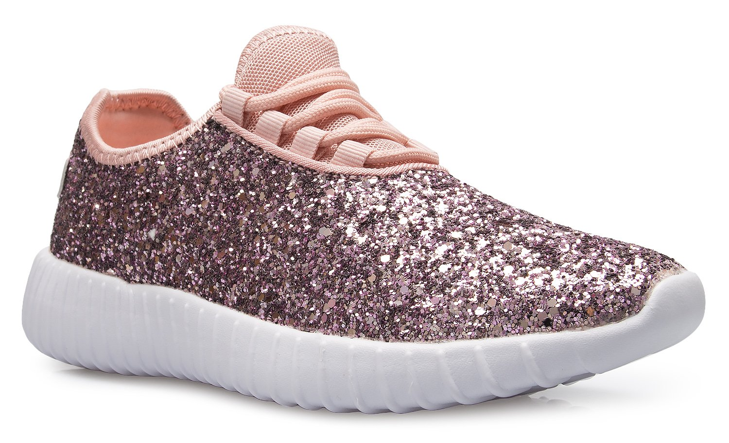 OLIVIA K Womens Easy On Casual Fashion Sparkly Glitter Sneakers - Comfort, Lightweight