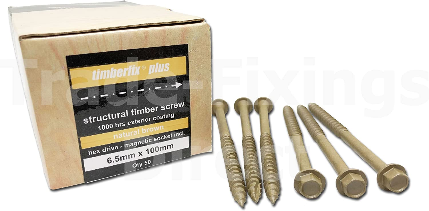FREE NEXT DAY DELIVERY /& HEX DRIVER BIT PACK OF 50-6.5mm x 200mm 8 GENUINE TIMBERFIX/® PLUS STRCTURAL DECKING RAILWAY SLEEPER HEX HEAD SCREW