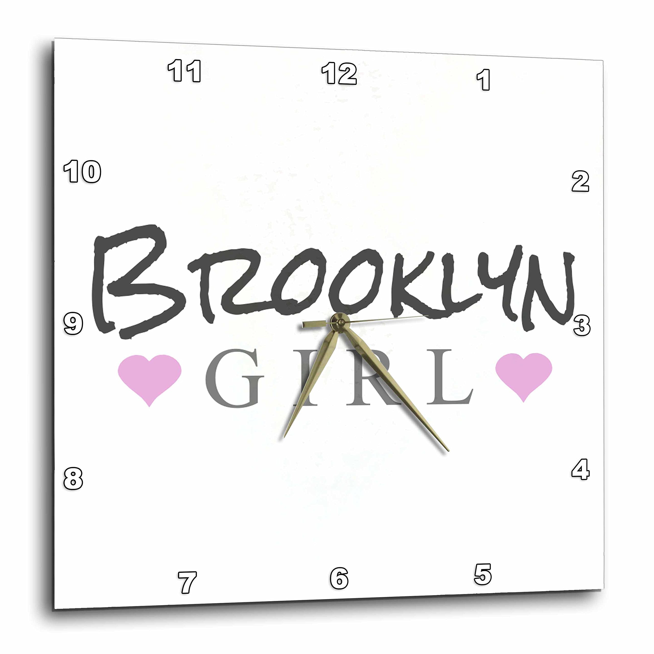3D Rose dpp_161831_1 3dRose Brooklyn Girl-Home Town City Pride-USA United States of America Text and Cute Girly Pink Hearts-Wall Clock 10-inch
