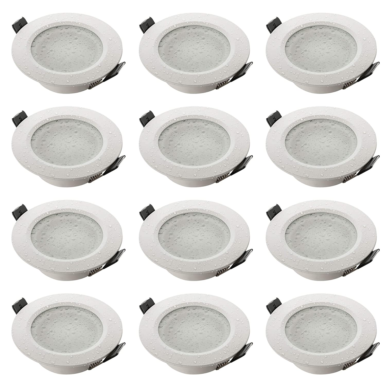 12er Set SEBSON® Einbaustrahler Badezimmer IP44, Badeinbaustrahler, Einbauleuchte Aluminium Weiß, inkl. GU10 Fassung (LED, Halogen), 12er Pack