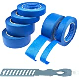 Blue Painters Tape 6 Roll Kit (3 Rolls 1 & 2 Inch; Multitools)   for All DIY & Professional Painting Projects   Wide Blue Tape   Crepe Paper Masking Painter's Tape   Clean Removal & Multi-Surface Use