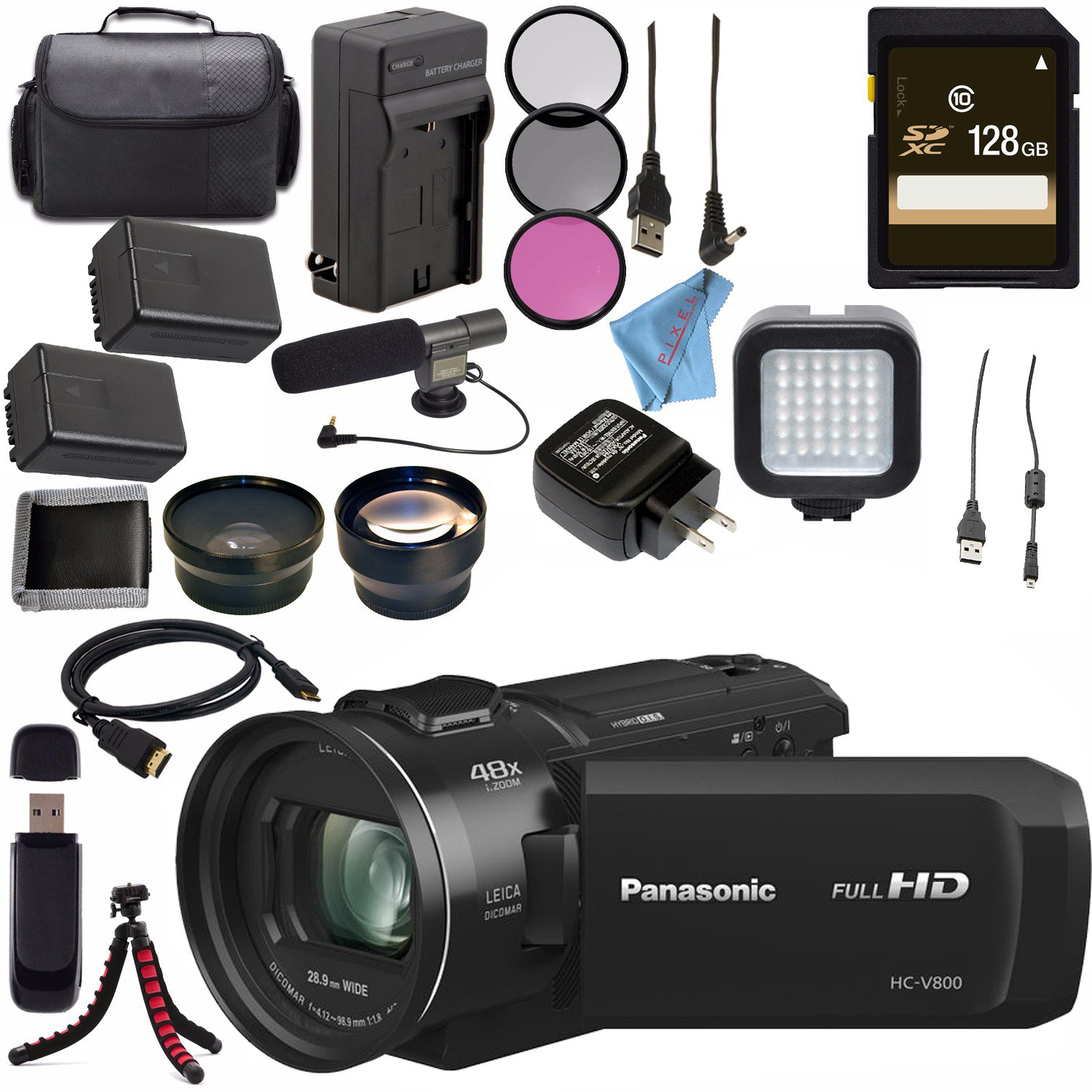 Panasonic HC-V800 HC-V800K Full HD Camcorder + Replacement Lithium Ion Battery + External Rapid Charger + 128GB SDXC Card + 62mm 3 Piece Filter Kit + LED Light + Condenser Mic Bundle by Panasonic