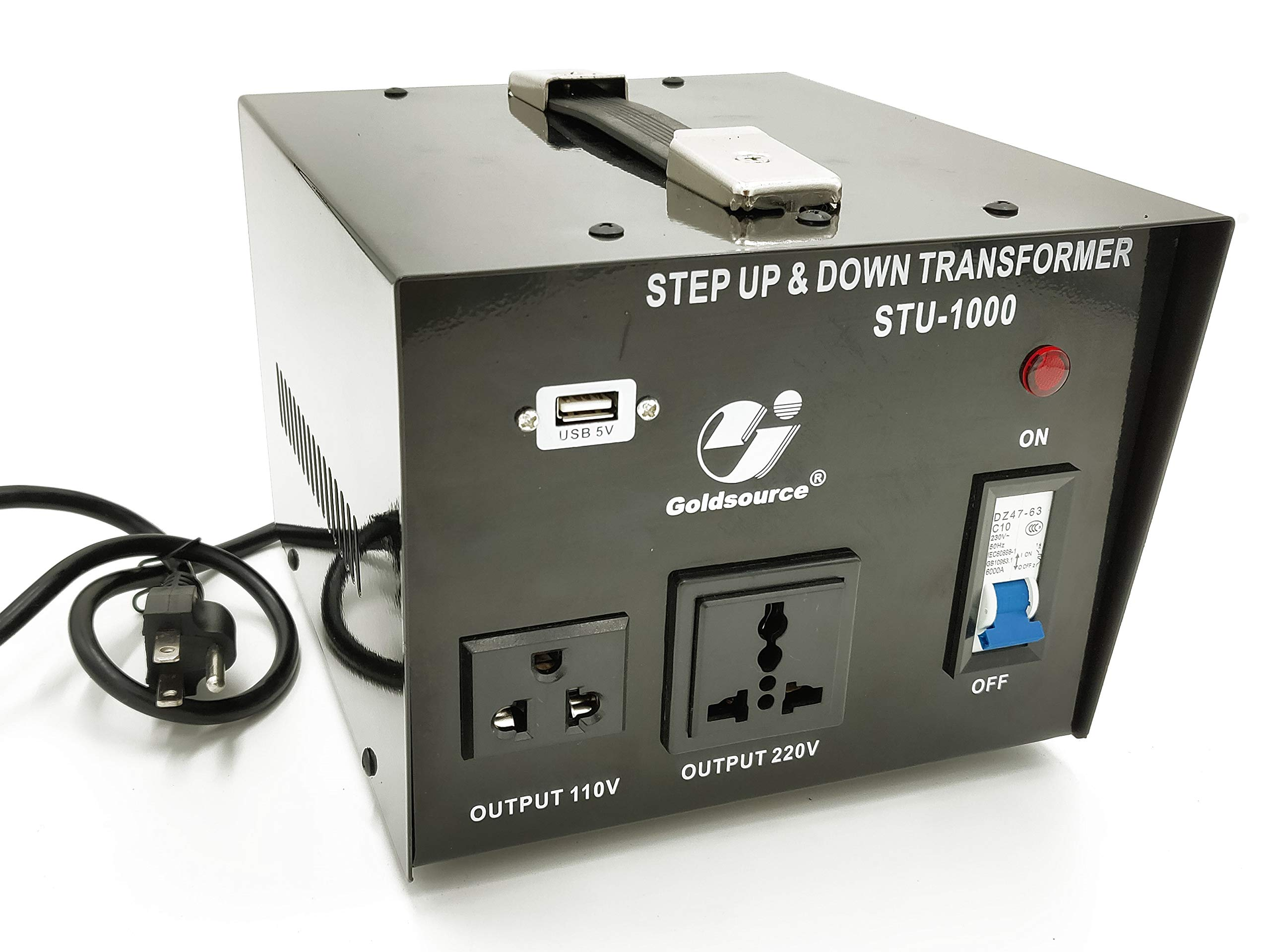 1000W Auto Step Up & Step Down Voltage Transformer Converter, STU-C Series Heavy-duty AC 110/220V Converter with US Standard, Universal, Schuko AC Outlets & DC 5V USB Port by Goldsource