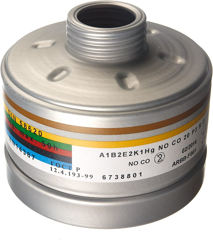 Filtro de combinación Dräger A1B2E2K1HgNOP3RD/CO20P3RD, con rosca DIN/EN