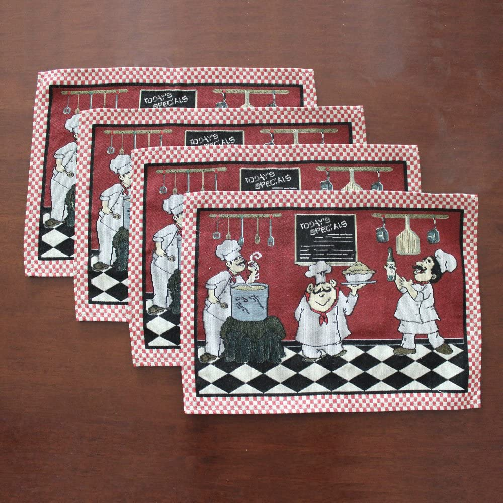 KEPSWET Cotton Linen Chef 1 Table Runner and 4 Placemats Value Pack for Dining Table Kitchen Accessories Table Mats Set (Red): Home & Kitchen