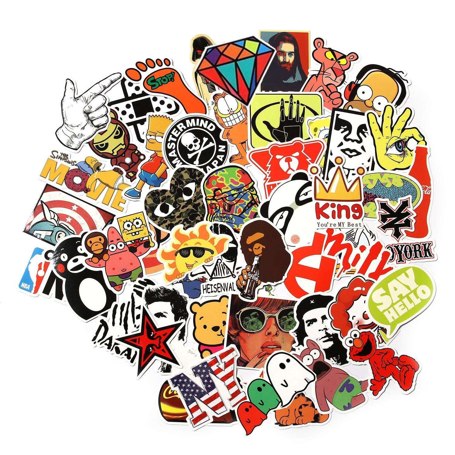 Cool sticker vinyl 100 piece sticker for travel case car bike and bicycle multicolour amazon in car motorbike
