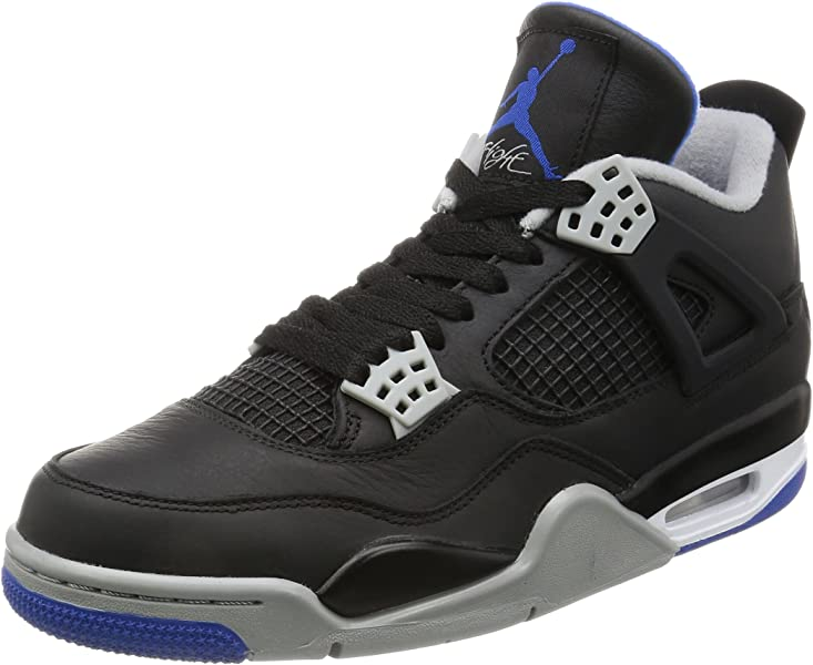 d4b95ceb53f457 Jordan Retro 4 quot Alternate Motorsports Black Game Royal-Matte Silver (8 D