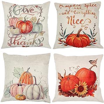 Zuext Fall Pumpkin Harvest Decorative Pillowcases 4 Pack Autumn Thanksgiving Pillow Covers Square 18x18 Inch Halloween Cotton Linen Throw Pillow