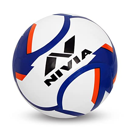 buy nivia 80076 dominator rubber football size 5 white blue red