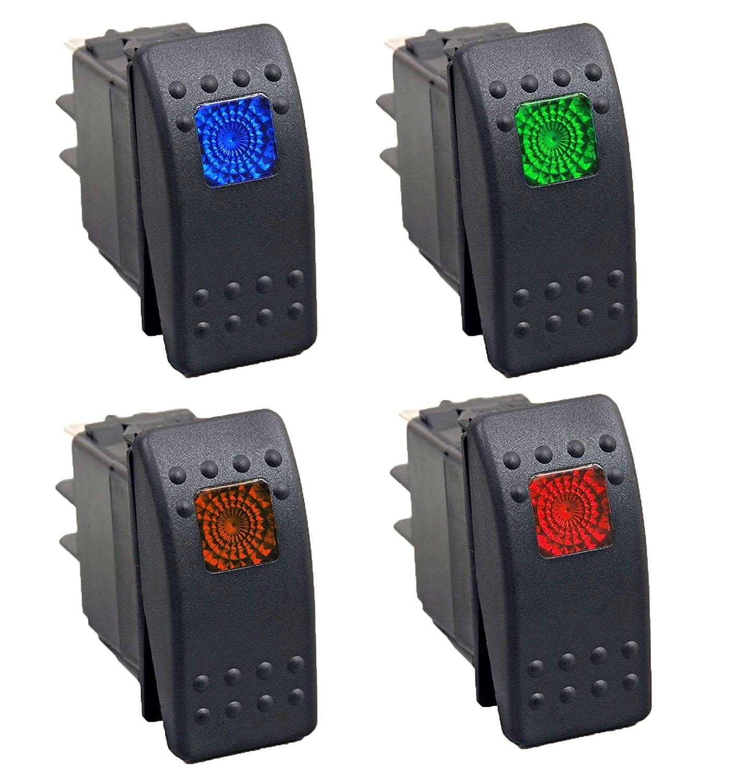 HOTSYSTEM 12V 20A Auto Interruttore 4 Pin con LED Luci ON/OFF Switch 1 blu +1 verde +1 arancia +1 rosso