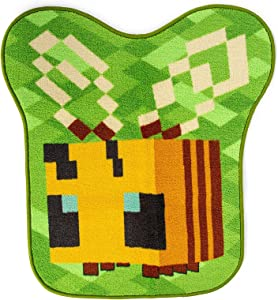 Minecraft Honey Bee Accent Rug | Official Video Game Collectible | Indoor Floor Mat, Rugs For Living Room and Bedroom | Home Decor For Kids Room, Playroom | 31 x 29 Inches