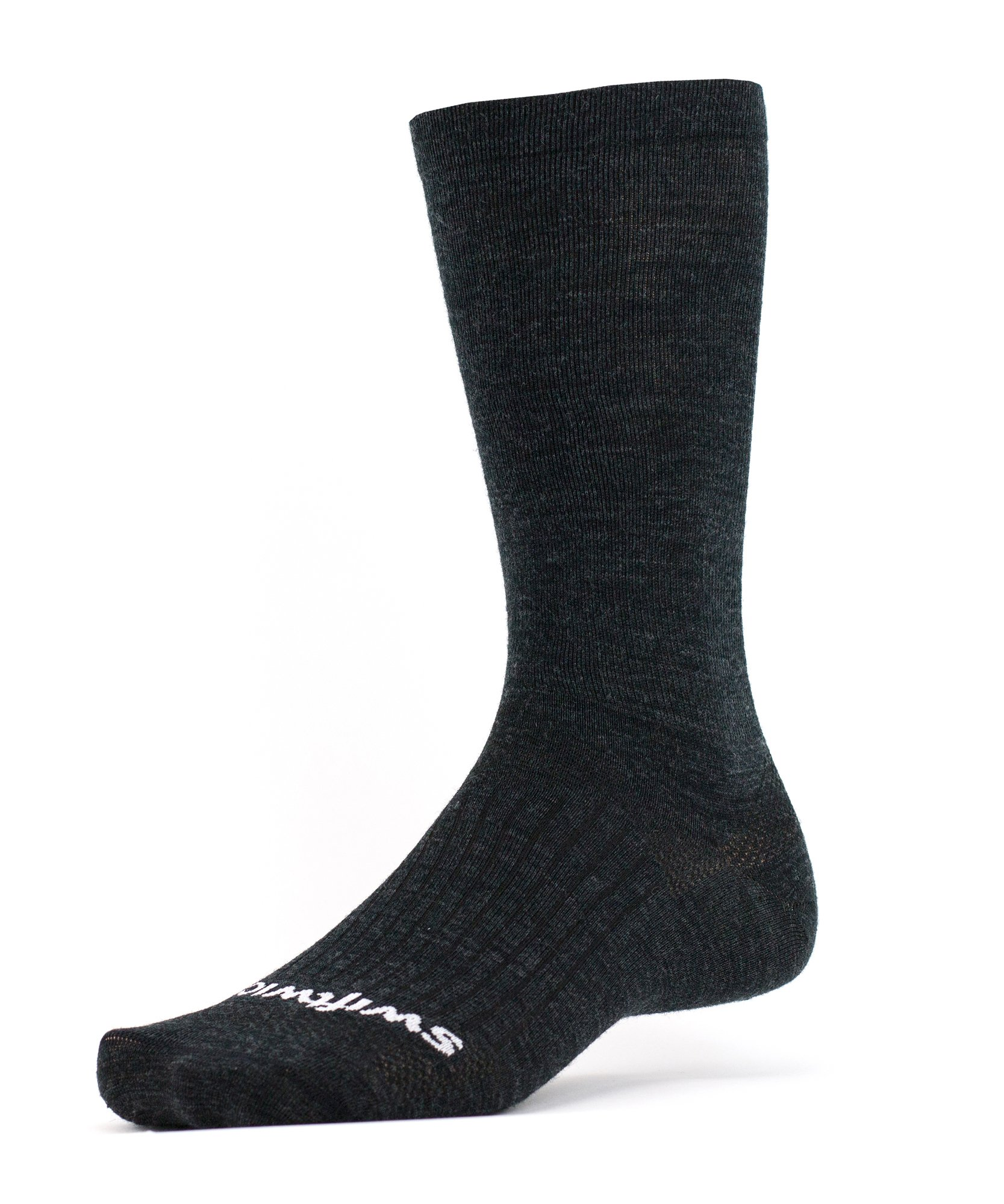 Swiftwick - PURSUIT BUSINESS EIGHT, Tall Crew Socks for Everyday Life, Coal, Large