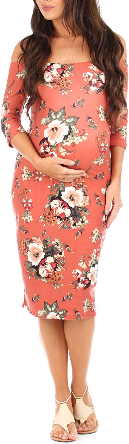 Women's Maternity Open Shoulder Dress in Floral Print - Made in USA at  Women's Clothing store
