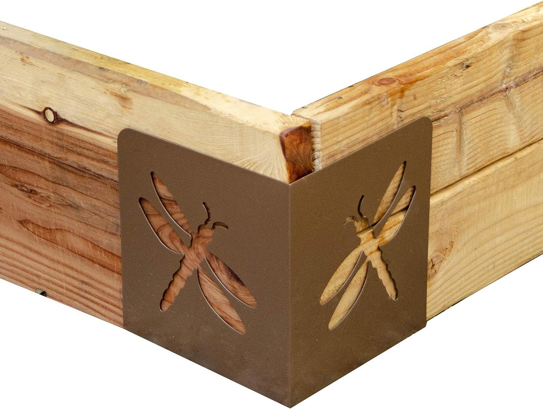 """Garden Bloom 11023BL Bloom Dragonfly Instabrace Garden Flower Raised Bed Corners, 9.5"""", Brown"""