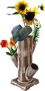 Gardenised QI003287 Tree Stump Style Flower Planter with 4 Planting Slots, Brown