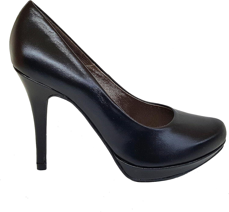 TALLA 39 EU. Gennia COPLA - Zapatos de Piel con Tacón de Aguja 9 cm y Plataforma 1 cm con Punta Cerrada para Mujer