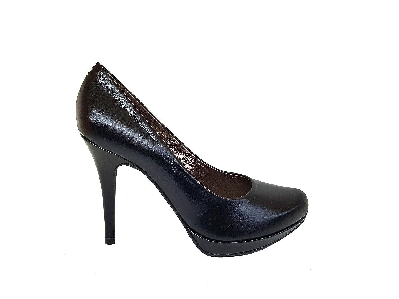 TALLA 43 EU. Gennia COPLA - Zapatos de Piel con Tacón de Aguja 9 cm y Plataforma 1 cm con Punta Cerrada para Mujer