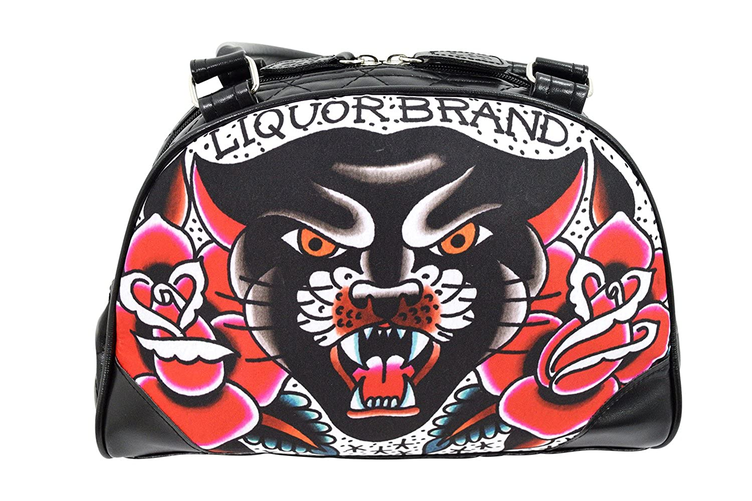 Liquorbrand Traditional American Tattoo Black Panther & Roses Small Bowler Bag