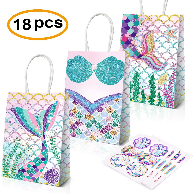 Mermaid Party Supplies,18 Pack Mermaid Party Bags Mermaid Party Favors Gift Bags,Mermaid Goodie bags Treat Bags