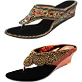 Thari Choice Woman's Ethnic and Fashion Wedges heel Sandal Combo Pack
