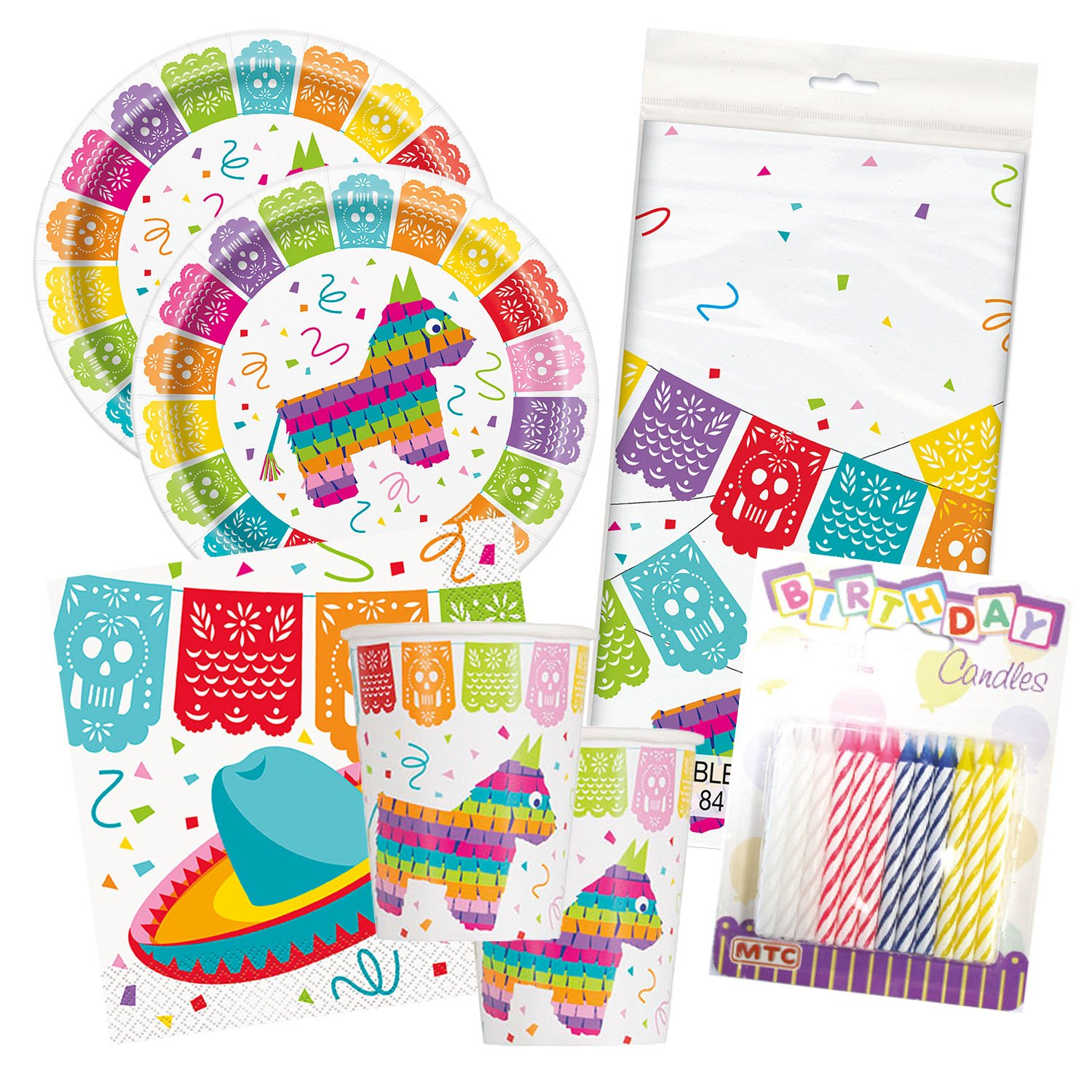 Mexican Fiesta Birthday Celebration Party Tableware Deluxe Bundle Plates Napkins Serves 16