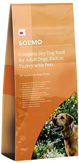 Marca Amazon - Solimo - Alimento seco completo para perro adulto rico en pavo con guisantes, 1 pack de 20 kg: Amazon.es: Productos para mascotas