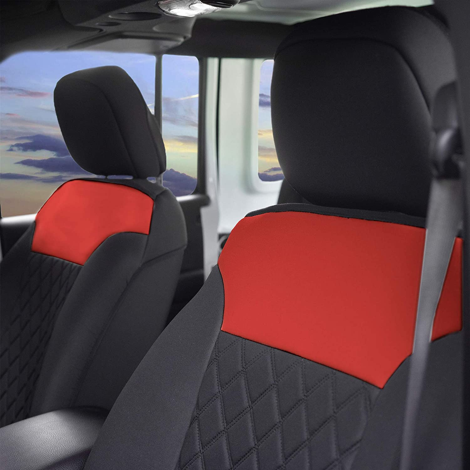 Easy Installation Water Resistant Non-Slip Backing FH Group Red//Black FB089REDBLACK102 Neosupreme Car Seat Cushion Set of Two Front Bucket Covers Quality