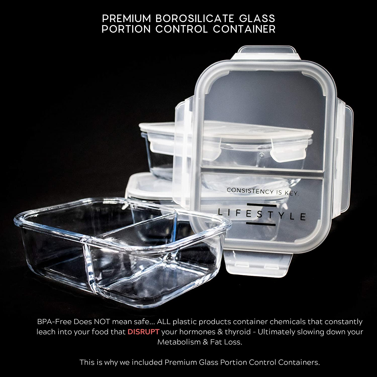 alpha-grp.co.jp 3 Glass Portion Control Containers for Weight Loss ...