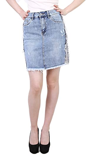 Toxik3 Womens Mini Pencil Blue Skirt Ripped Skirts Destroyed with Strips  Size XS 9480070ddd