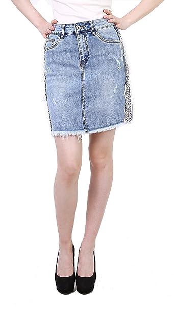 85c1d3817 Toxik Mujer Falda Vaquera Corta Mini Falda de Mezclilla Azul Casual ...