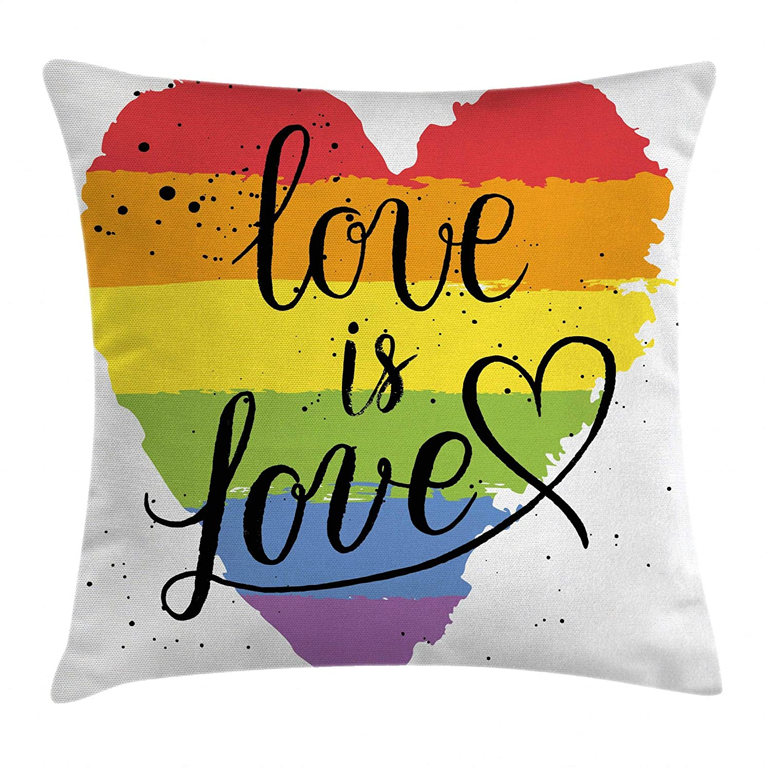 "Ambesonne Pride Throw Pillow Cushion Cover, LGBT Gay Lesbian Parade Love is Love Hand Writing Paint Strokes, Decorative Square Accent Pillow Case, 20"" X 20"", Red Black"